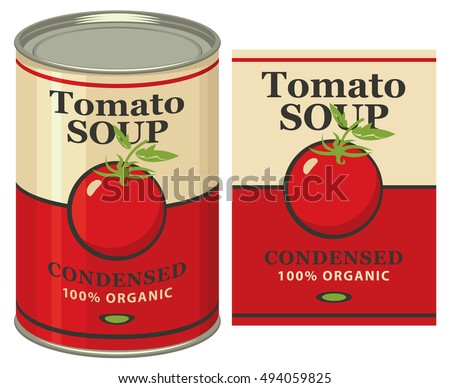 Vector illustration of a tin can with label tomato soup