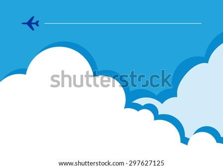 Vector illustration of a tiny flight silhouette in clouds. Can be used as flyer, cover, business cards, envelope, and brochure background.