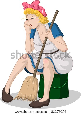 Vector illustration of a tired cleaning lady sitting on a bucket.  - stock vector