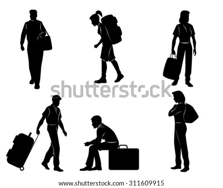 Vector illustration of a tourists with luggage