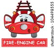 Vector illustration of a toy car for kids - Fire-engine Car - stock vector