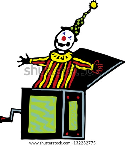 Vector illustration of a toy clown popping out from a box