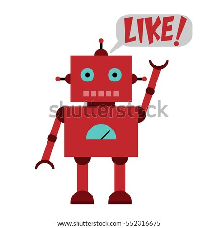 Vector illustration of a toy Robot and text LIKE!