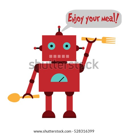 Vector illustration of a toy Robot with spoon, fork and text Enjoy your meal!