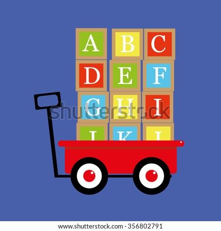 Vector illustration of a traditional red toy wagon or trolley with alphabet letter blocks stacked and ready to be transported - stock vector