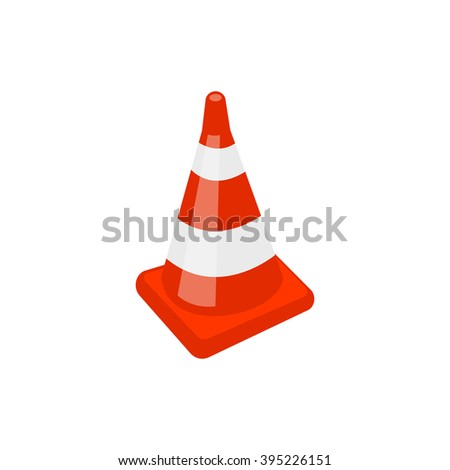 Vector illustration of a traffic cone red color - stock vector