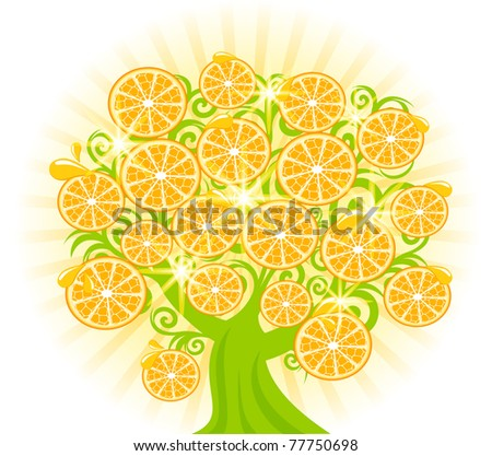 vector illustration of a tree with slices of oranges.