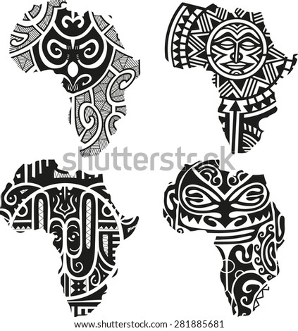 Vector illustration of a tribal African silhouette - stock vector