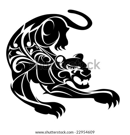 vector illustration of a tribal design panther - stock vector