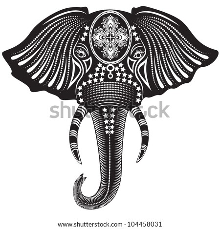 Vector illustration of a tribal totem animal - Elephant - in graphic style - stock vector