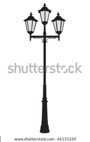 Vector illustration of a triple old-fashioned street lamppost