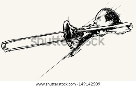 Vector illustration of a trombone player - stock vector