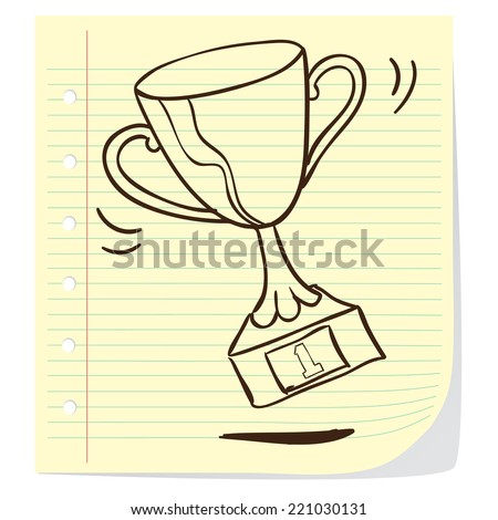 Vector illustration of a trophy in doodle style - stock vector
