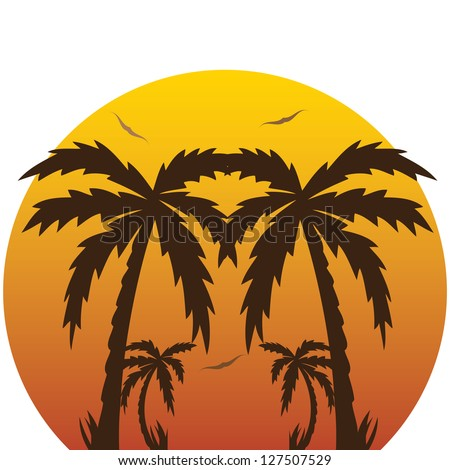 Vector illustration of a tropical sunset and palm trees.vector