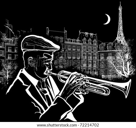 Vector illustration of a trumpeter on  Paris grunge background - stock vector