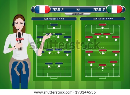 Vector illustration of a TV sport reporter at work. soccer playing field with strategy elements. - stock vector