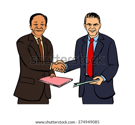 Vector illustration of a two businessmen handshake - stock vector