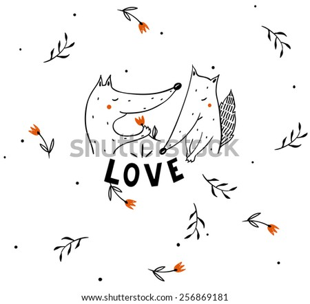 vector illustration of a two foxes in love - stock vector