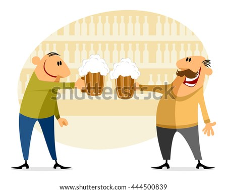 Vector illustration of a two men with bear