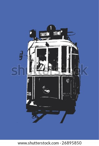 Vector illustration of a typical tram in Istanbul downtown - Beyoglu, Istanbul