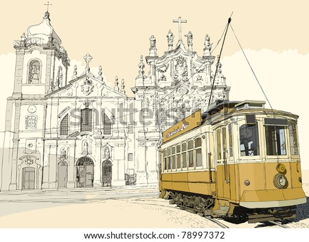 Vector illustration of a typical tramway in front of the church Carmo in Porto - Portugal
