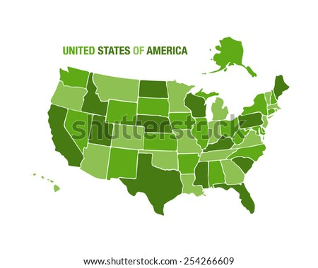 Vector illustration of a united states map - stock vector