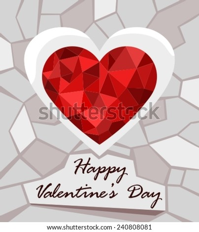 vector illustration of a valentines card - stock vector