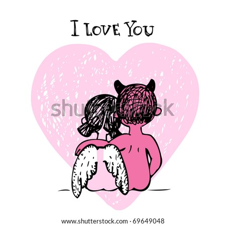 Vector illustration of a valentines couple - devil and angel, may be used as Valentine card. - stock vector
