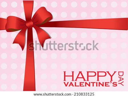 Vector illustration of a Valentines Day gift wrapped in pink polka dot wrapping paper and red bow and ribbon. - stock vector