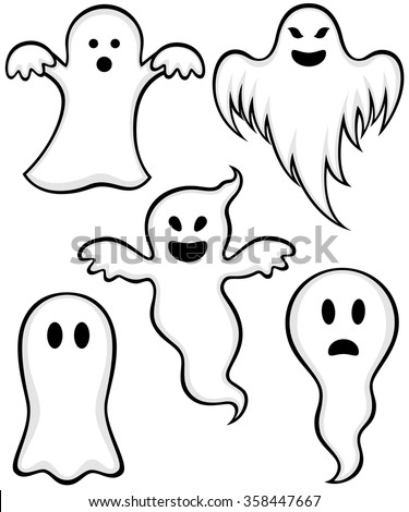 vector illustration variety cartoon ghosts stock vector 358447667 rh shutterstock com Cartoon Ghost Drawings Cartoon Ghost of a Lady