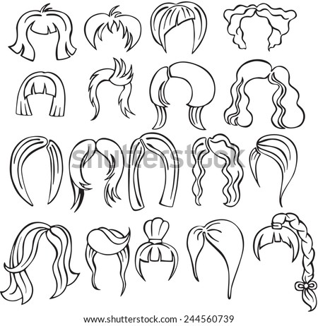 vector illustration of a variety of hairstyles - stock vector