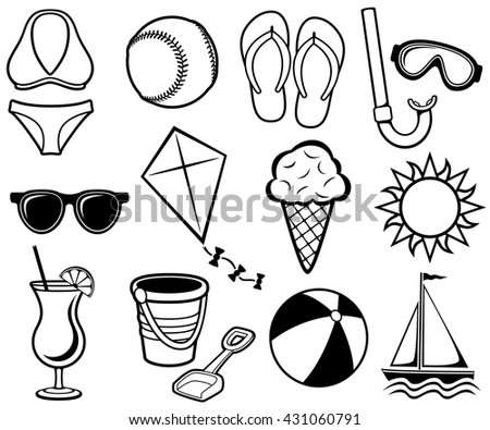 Vector illustration of a variety of summer-themed black and white icons. - stock vector