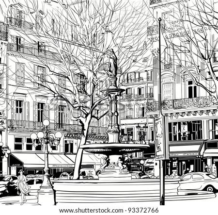 Vector illustration of a View of Paris near Palais Royal - stock vector