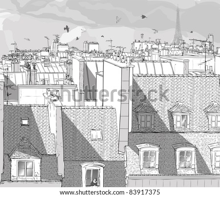 Vector illustration of a view on Paris roofs with Eiffel Tower - stock vector