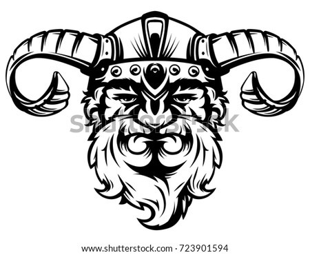Vector illustration of a viking warrior head in a helmet on a white background