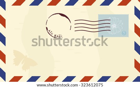Vector illustration of a vintage air mail envelope, with a postage stamp with a flower drawing, words 'Air mail' and a drawing of a butterfly; with a place for text - stock vector