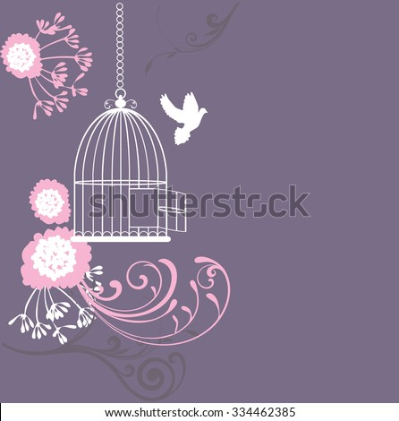 vector illustration of a vintage cage with doves