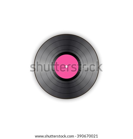 Vector illustration of a vinyl record on white.