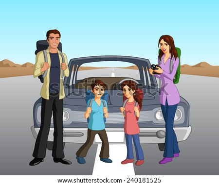 Vector illustration of a wandering family on a curious road trip in the US. - stock vector