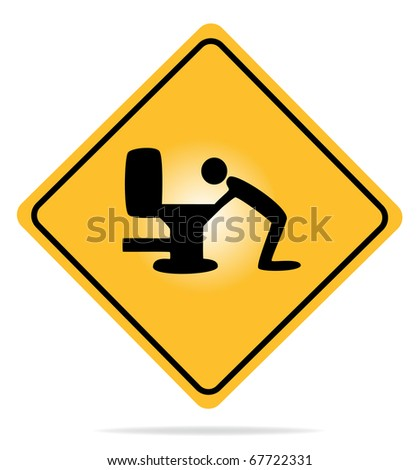 Vector illustration of a warning sign with an icon vomiting. - stock vector