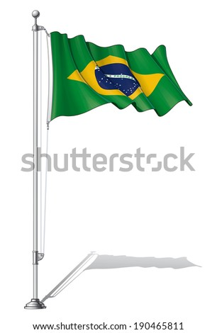 Vector Illustration of a waving Brazilian flag fasten on a flag pole. Flag and pole in separate layers, line art, shading and color neatly in groups for easy editing.  - stock vector