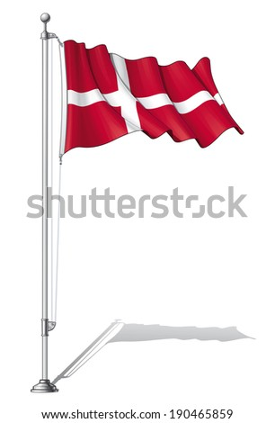Vector Illustration of a waving Danish flag fasten on a flag pole. Flag and pole in separate layers, line art, shading and color neatly in groups for easy editing.  - stock vector