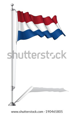Vector Illustration of a waving Dutch flag fasten on a flag pole. Flag and pole in separate layers, line art, shading and color neatly in groups for easy editing.  - stock vector
