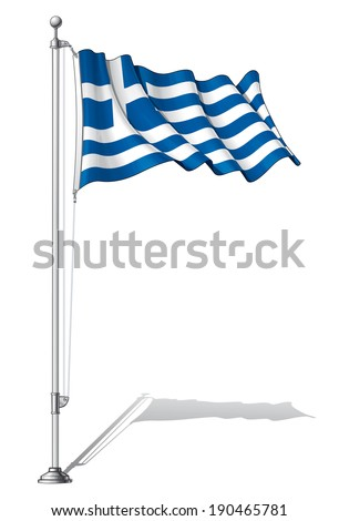 Vector Illustration of a waving Greek flag fasten on a flag pole. Flag and pole in separate layers, line art, shading and color neatly in groups for easy editing.  - stock vector