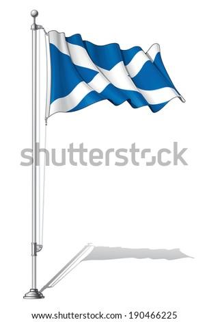 Vector Illustration of a waving Scottish flag fasten on a flag pole. Flag and pole in separate layers, line art, shading and color neatly in groups for easy editing.  - stock vector