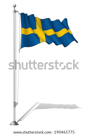 Vector Illustration of a waving Swedish flag fasten on a flag pole. Flag and pole in separate layers, line art, shading and color neatly in groups for easy editing.  - stock vector