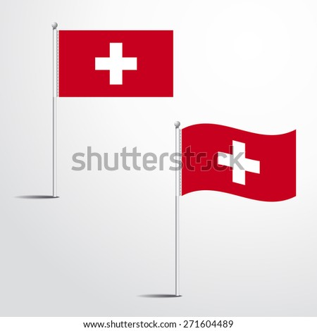 Vector Illustration of a waving Switzerland Flag fasten on a flag pole. flag blowing in a breeze. Vector illustration template design - stock vector