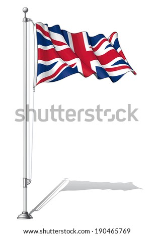 Vector Illustration of a waving UK flag fasten on a flag pole. Flag and pole in separate layers, line art, shading and color neatly in groups for easy editing.  - stock vector