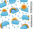 vector illustration of a weather icons pattern - stock vector