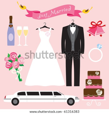 Vector illustration of a wedding icon set. - stock vector
